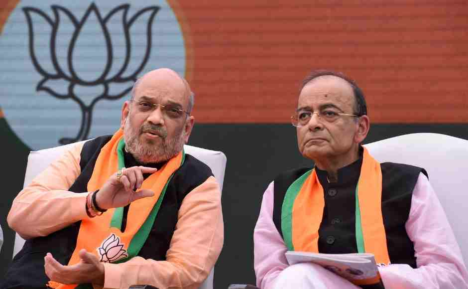 BJP President Amit Shah and Union Finance Minister Arun Jaitley during the release of BJP manifesto (Sankalp Patra). PTI
