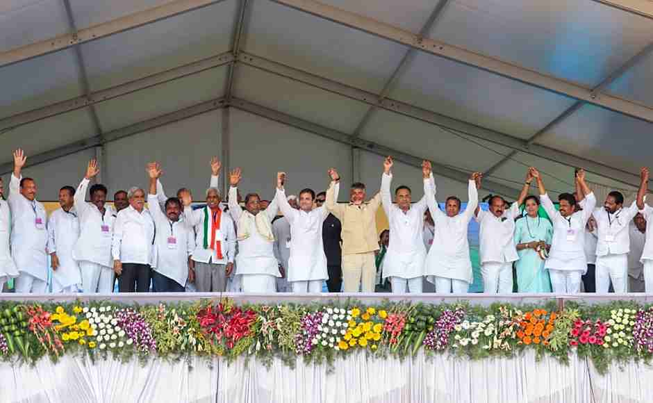 Congress President Rahul Gandhi, former prime minister and JD(S) chief HD Deve Gowda and TDP president and Andhra Pradesh chief minister N Chandrababu Naidu at a campaign rally for the  Lok Sabha elections in Raichur on Friday. PTI