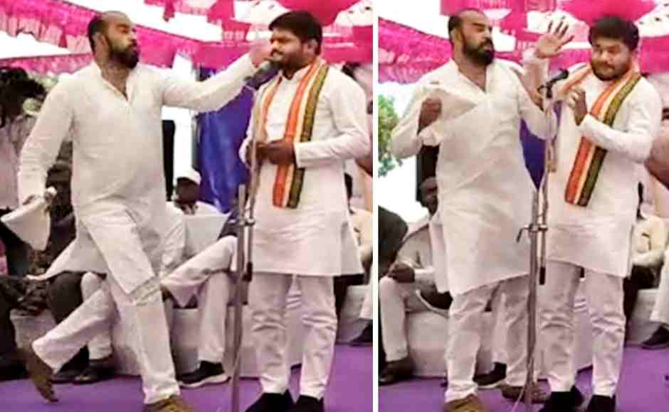 In this combo picture taken from video footage, Congress leader Hardik Patel is slapped by a man, later identified as Tarun Gajjar, while he was addressing a 'Jan Akrosh' (public anger) rally in Surendranagar, Gujarat on Friday. PTI