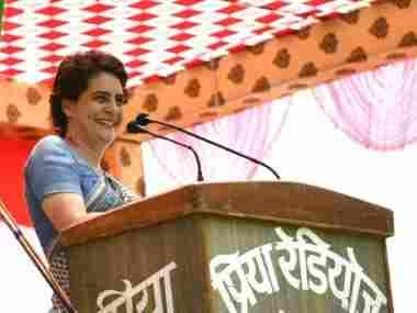 Priyanka Gandhi at the rally in Fatehpur. Twitter/@INCUttarPradesh