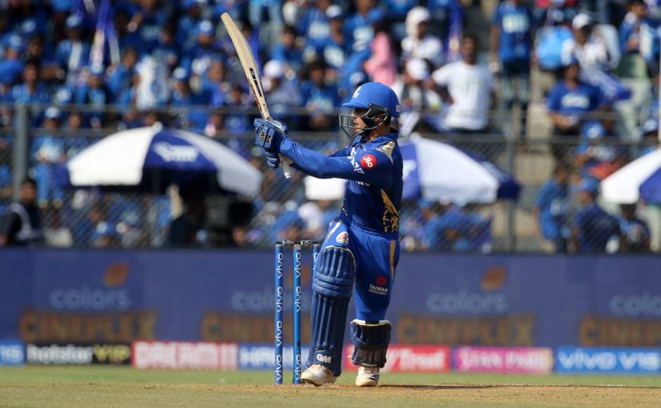 Quinton de Kock provided Mumbai Indians the perfect start along with Rohit Sharma (47) and scored 81 off 52 balls to help MI post 187/5 in 20 overs against RR. Sportzpics