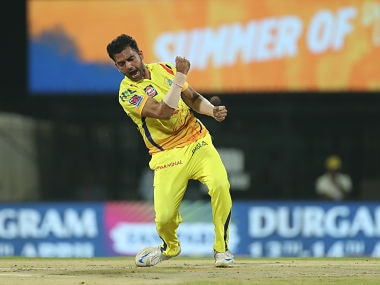 Deepak Chahar of Chennai Super Kings celebrates after taking a wicket against Kolkata Knight Riders. Sportzpics