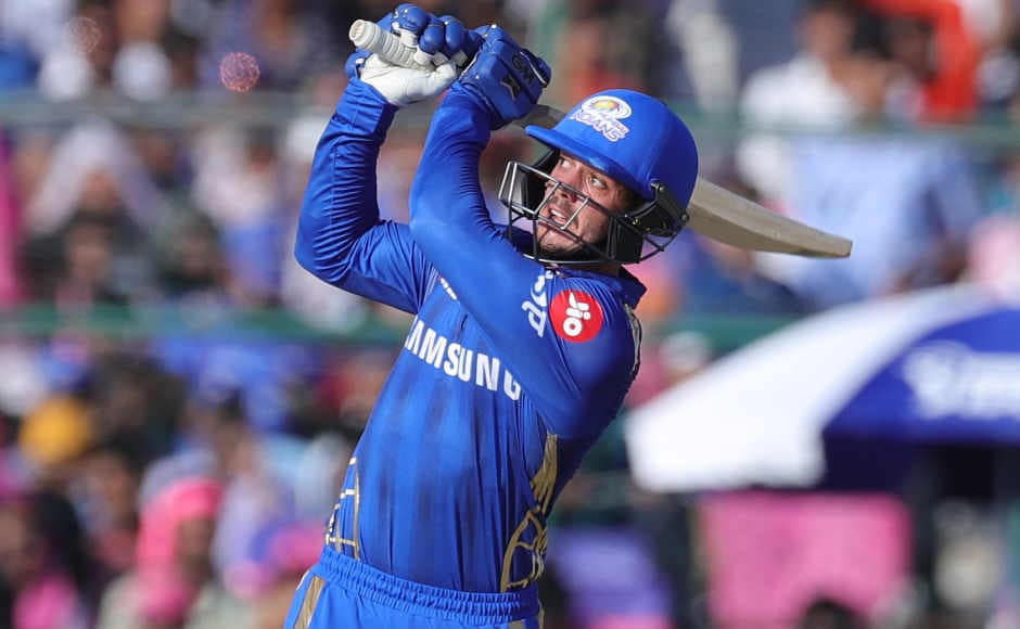 Batting first, Mumbai Indians received a jolt again as they lost Rohit Sharma early on for just 5. It was yet again Quinton de Kock who came to the rescue of the visiting team ashe smashed 65 off 47 balls before getting out. Sportzpics