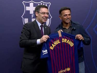 Rahul Dravid watched a La Liga match involving hosts Barcelona and Atletico Madrid at Camp Nou. Image @FCBarcelona