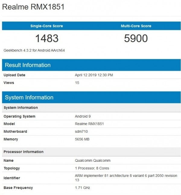 Realme 3 Pro listed on the Geekbench website.