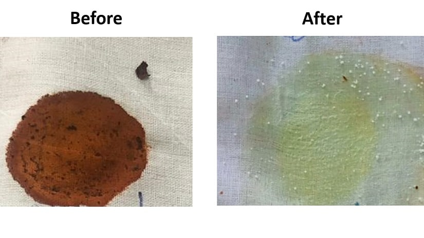 Proteins purified from microorganisms that can decolourise paan stains (preliminary result). Image via: Dr Mayuri Rege