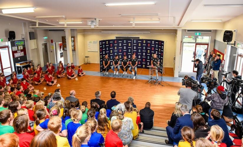 New Zealand announced their squad for the World Cup 2019 at Tai Tapu school. Image courtesy: Twitter @BLACKCAPS