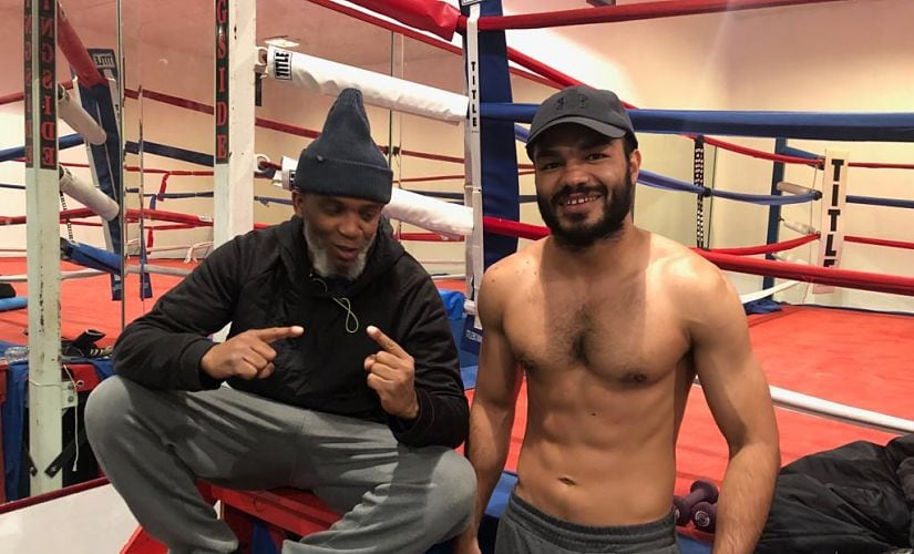 Vikas Krishan with his coach Wali Moses, who is also the grandfather of 2016 Olympic silver medalist Shakur Stevenson. Image courtesy: Top Rank Boxing