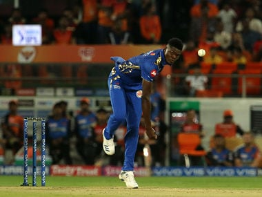 Alzarri Joseph of Mumbai Indians in action against Sunrisers Hyderabad. Sportzpics