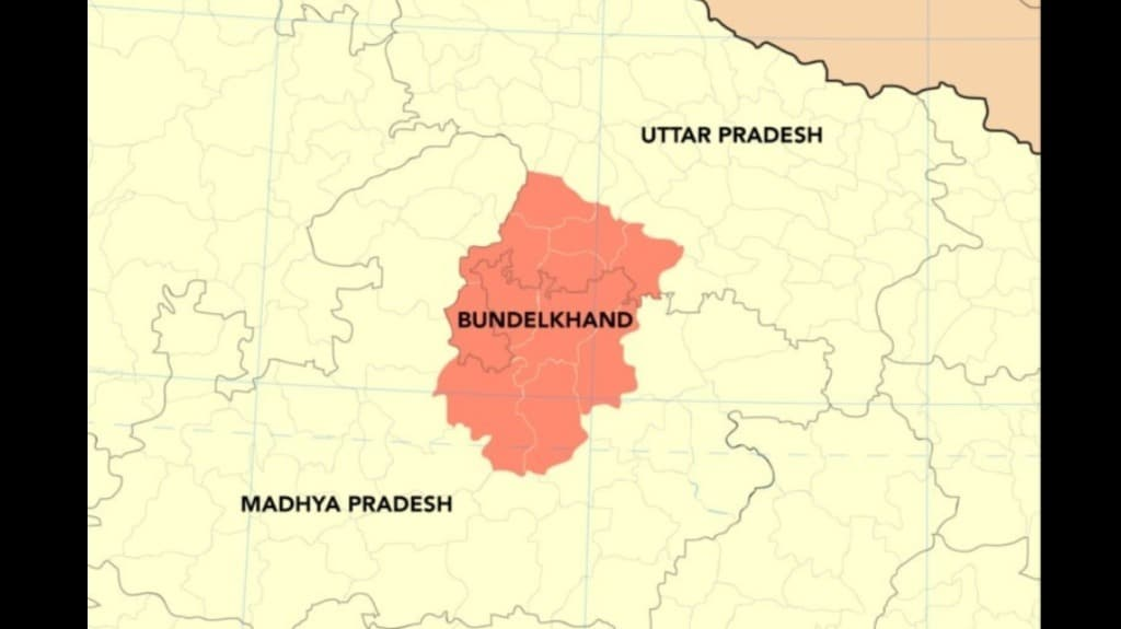 Bundelkhand is divided between the two states of Uttar Pradesh and Madhya Pradesh. Map by Planemad/Wikimedia Commons.