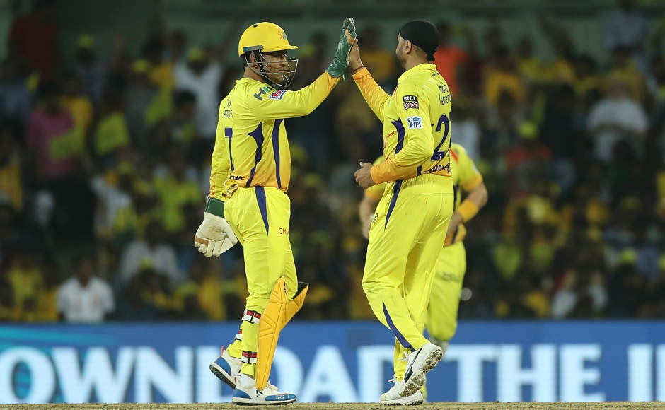 Harbahajan Singh (right) shone for CSK, picking up 2 wickets while giving away just 15 runs in his spell of 4 overs. His brilliant spell of bowling helped CSK restrict KKR to 108/9 in 20 overs.