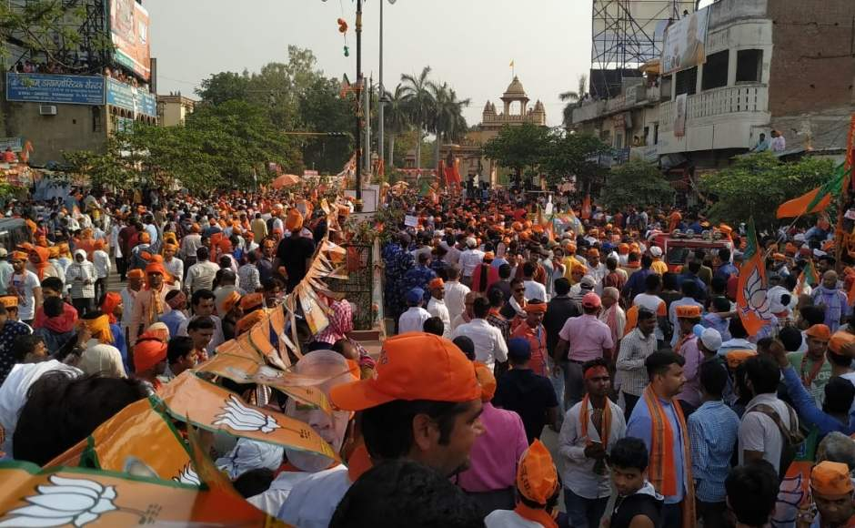 The six-kilometre-long roadshow passed through several parts of the city, including Lanka, Godhalio and Assi areas, amid cheering crowds, wearing saffron-coloured attires and showering rose petals. Twitter/@BJP4India