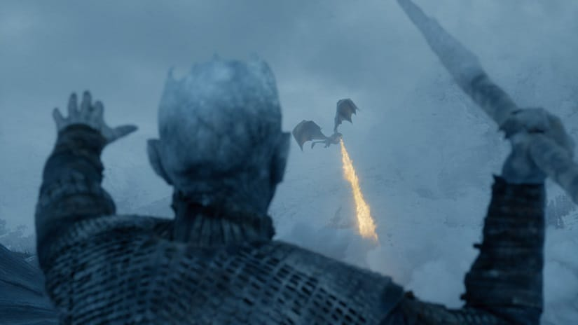 The Night King shoots down Viseryon. Still from Game of Thrones season 7. HBO