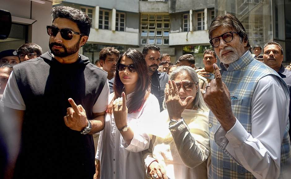 Veteran actor Amitabh Bachchan, along with wife Jaya, voted at a polling booth in Juhu this afternoon. Daughter-in-law Aishwarya Rai Bachchan and son Abhishek Bachchan also accompanied him. PTI