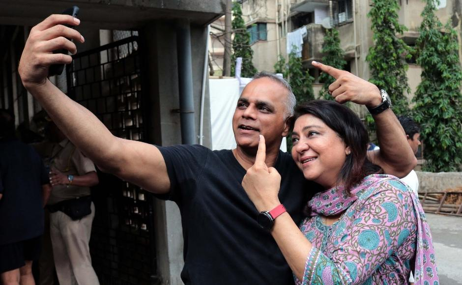 Priya Dutt, the Congress candidate from Mumbai North Central seat, posed for a selfie with her husband after they cast their ballots. Sachin Gokhale/Firstpost
