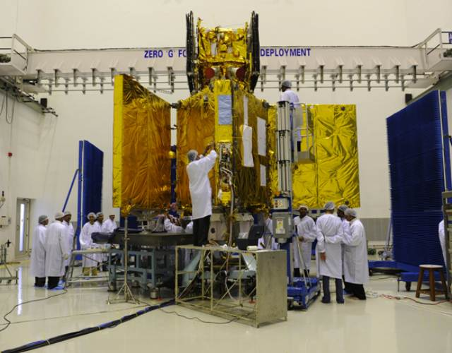 RISAT-1 undergoing prelaunch tests at clean room in Sriharikota in 2009. Image: ISRO