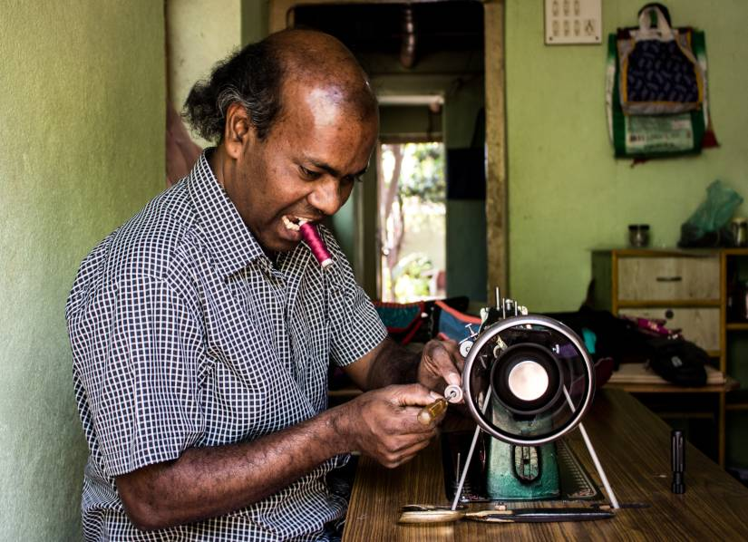 Threading the needle: How a differently abled Dalit man from Belgaum mastered stitching, creating art from scrap