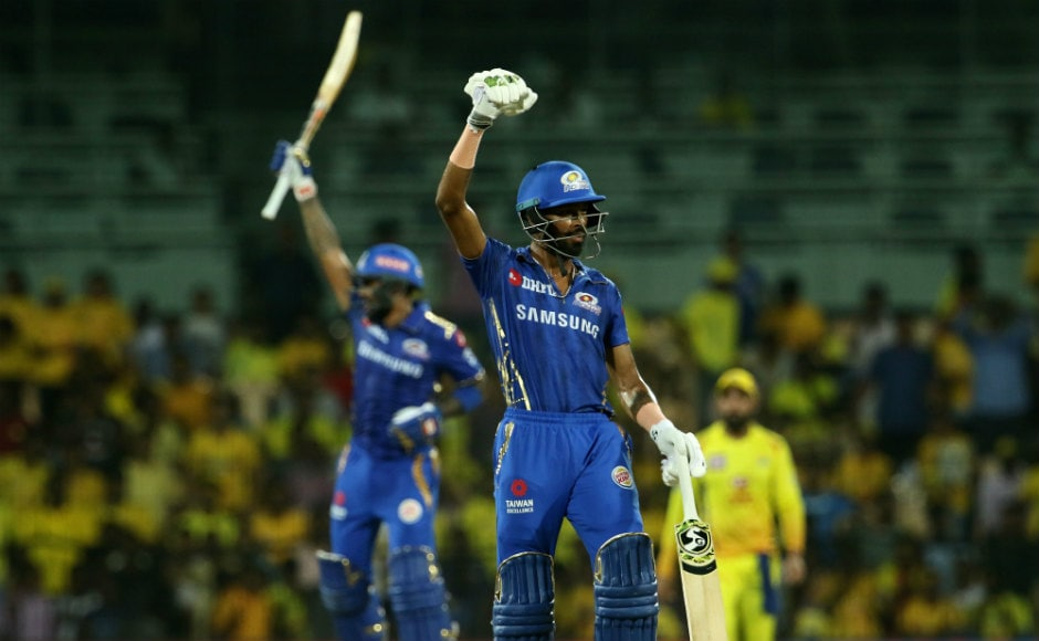 Hardik Pandya and Suryakumar Yadav celebrate after guiding Mumbai Indians to a six-wicket win. Sportzpics