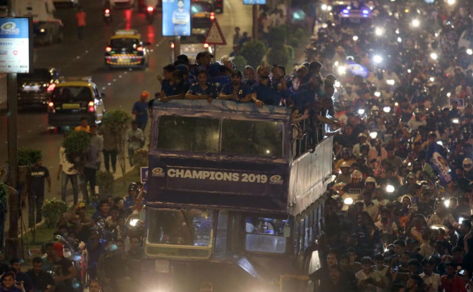 Mumbai Indians celebrate victory over Chennai Super Kings in IPL 2019 final with open bus parade in Maximum City