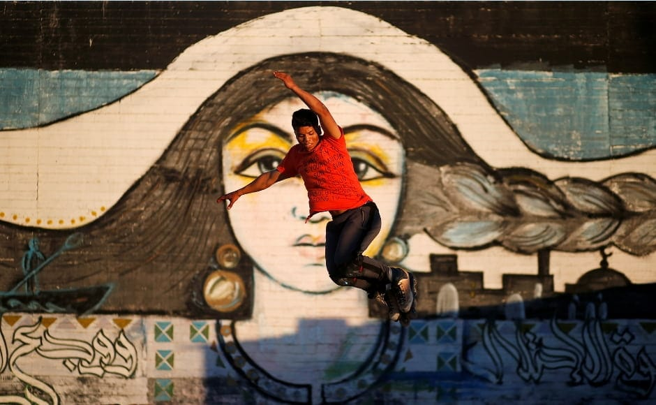 Sarhan practising at a skating park near Gaza's seaport. Reuters/Mohammed Salem.