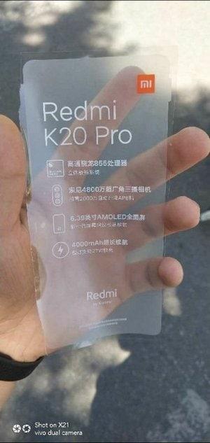 Redmi K20 Pro leaked screen film.