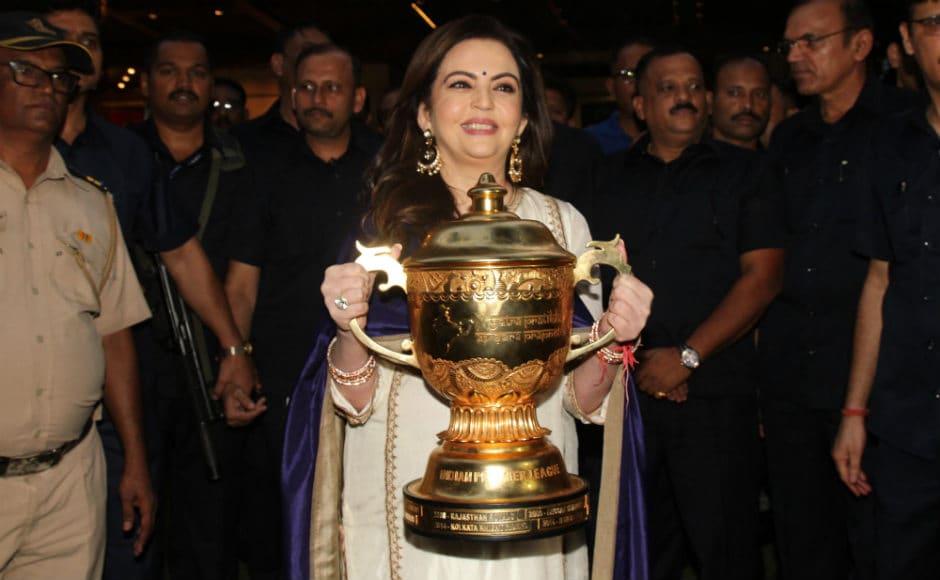 Mumbai Indians franchise owner Nita Ambani poses with the Indian Premier League trophy. Sachin Gokhale