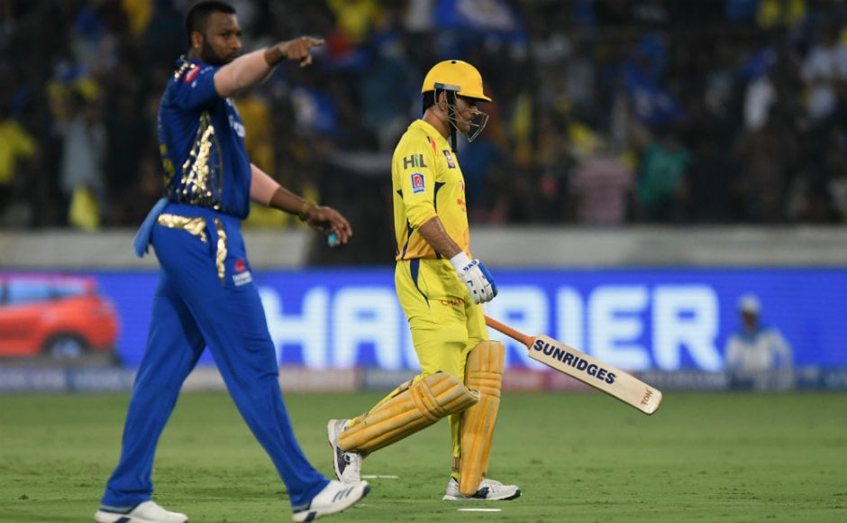A forlorn MS Dhoni walks back to the CSK dugout after getting himself run out for 2. AFP