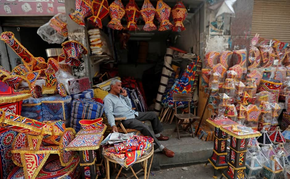 Traditional decorations made of a thick fabric called <em>khayamiya</em>are displayed for sale at a stall in Cairo, Egypt. The textile was historically used to build tents in the Middle East and is now found primarily in Egypt. Reuters/Amr Abdallah Dalsh.