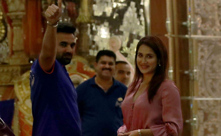 Mumbai Indians bowling coach Zaheer Khan with his actor wife Sagarika Ghatge at the Antilia. Sachin Gokhale