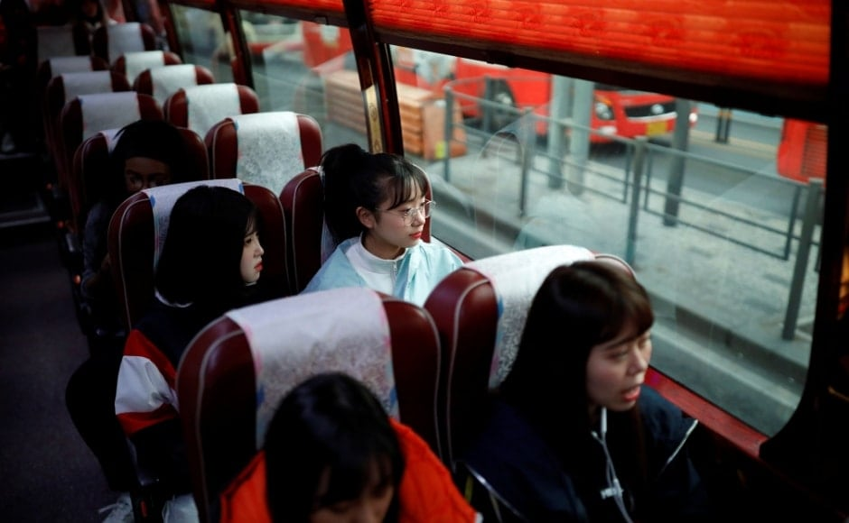 Nao Niitsu, college freshman from Tokyo, who wants to be a K-pop star, and other Japanese children sit on a bus heading for an audition in Seoul, South Korea, on 15 March, 2019. During a visit to Seoul paid for by her mother, herself a die-hard BTS fan, Niitsu auditioned for 10 agencies and was accepted by five. Reuters/Kim Hong-Ji.