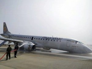 Myanmar passenger jet makes emergency landing after front wheels fail to deploy; passengers, crew members safe