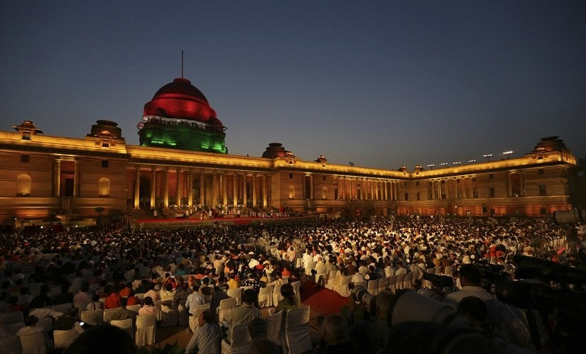 The Rashtrapati Bhavan was decked up for the oath-taking ceremony, which would mark the beginning of Narendra Modi's second consecutive term as Prime Minister. AP