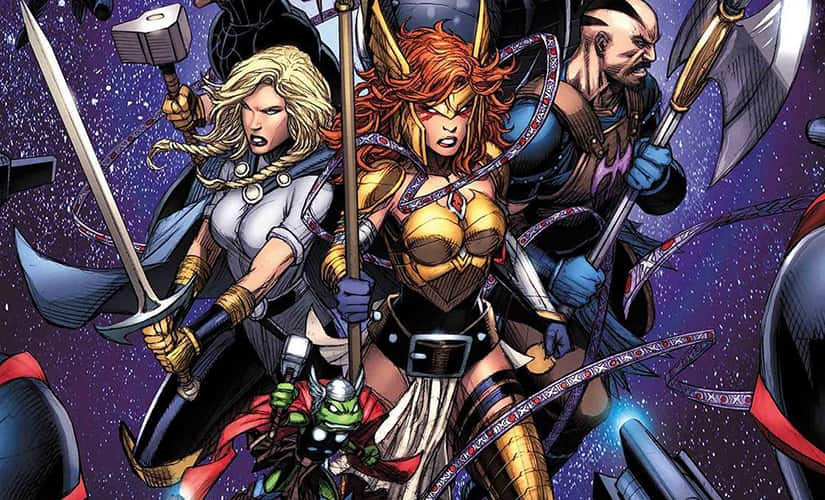 Instead of Thor Odinson, his long-lost sister Angela was on the team…. along with a frog who wielded a tiny Mjolnir | Marvel Comics