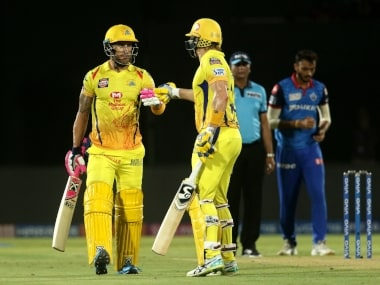 Shane Watson of Chennai Super Kings congratulates Faf du Plessis of Chennai Super Kings for scoring a fifty during the qualifier 2 match of the Vivo Indian Premier League Season 12, 2019 between the Chennai Super Kings and the Delhi Capitals held at the ACA-VDCA Stadium, Visakhapatnam on the 10th May 2019 Photo by: Vipin Pawar /SPORTZPICS for BCCI