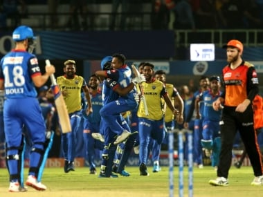 Delhi Capitals players celebrate after winning the eliminator match of the Vivo Indian Premier League Season 12, 2019 between the Delhi Capitals and the Sunrisers Hyderabad held at the ACA-VDCA Stadium, Visakhapatnam on the 8th May 2019 Photo by: Vipin Pawar /SPORTZPICS for BCCI