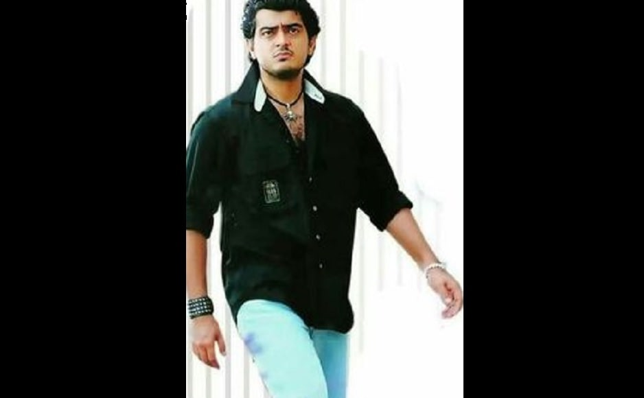 Ajith was seen alongside popular Malayalam actor Suresh Gopi in <em>Dheena</em> which also marked the directorial debut of A R Murugadoss, best known for <em>Ghajini</em>. Source: Twitter.