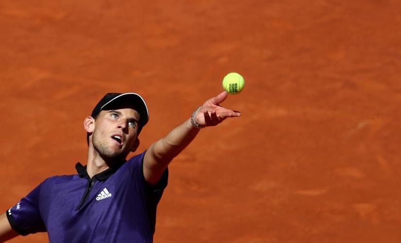 Austria's Dominic Thiem in action during his Madrid Open semi-final match against Serbia's Novak Djokovic.