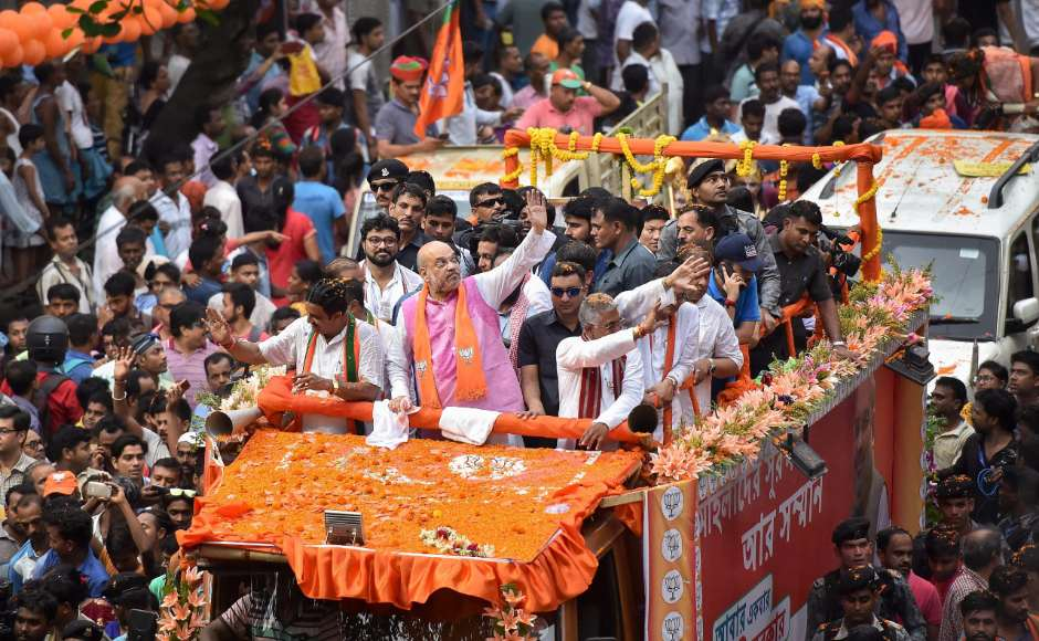 BJP national president Amit Shah conducted an election roadshow in Kolkata for the last phase of Lok Sabha polls on Tuesday. PTI