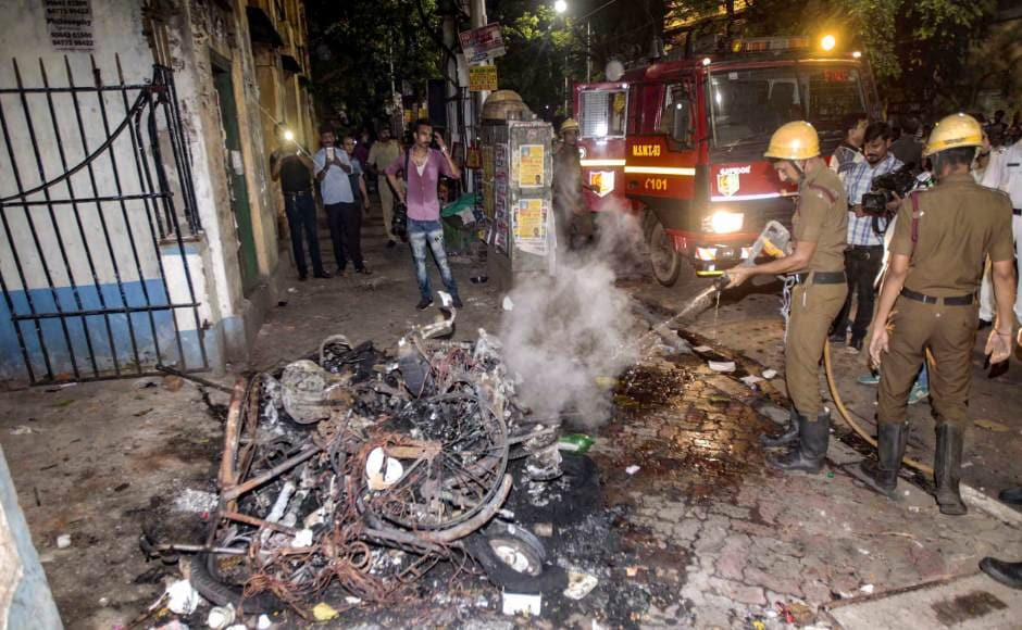 Vehicles were torched during the roadshow as situation soon spiralled into mass vandalism with both TMC and BJP accusing each other of sponsoring violence in the state. PTI