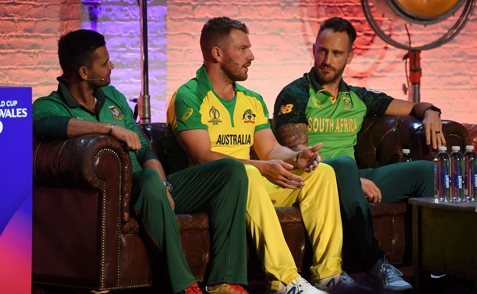 Pakistan's Sarfaraz Ahmed, Australia's Aaron Finch and South Africa's Faf du Plessis are seen having a discussion. Australia will open their title defence on 1 June when they meet Afghanistan in their first match. ICC Media