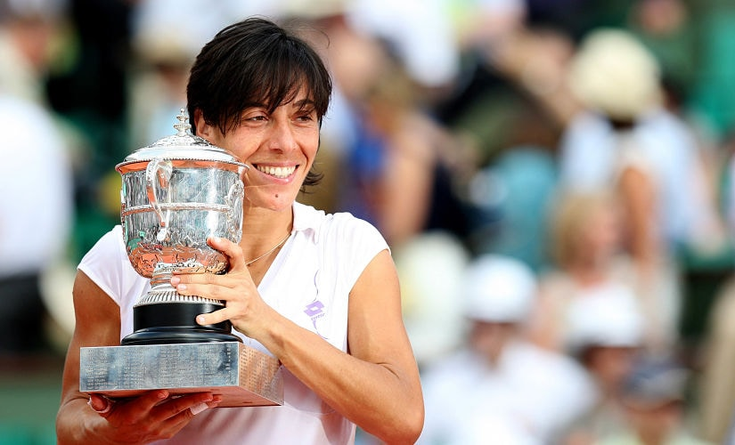 Tennis - French Open - Roland Garros, Paris, France - 5/6/10 Italy's Francesca Schiavone celebrates with the trophy after winning the French Open Mandatory Credit: Action Images / Paul Childs Livepic - MT1ACI7034425