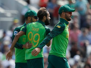 South Africa's Imran Tahir (c) celebrates with teammates after dismissing Jonny Bairstow. AP
