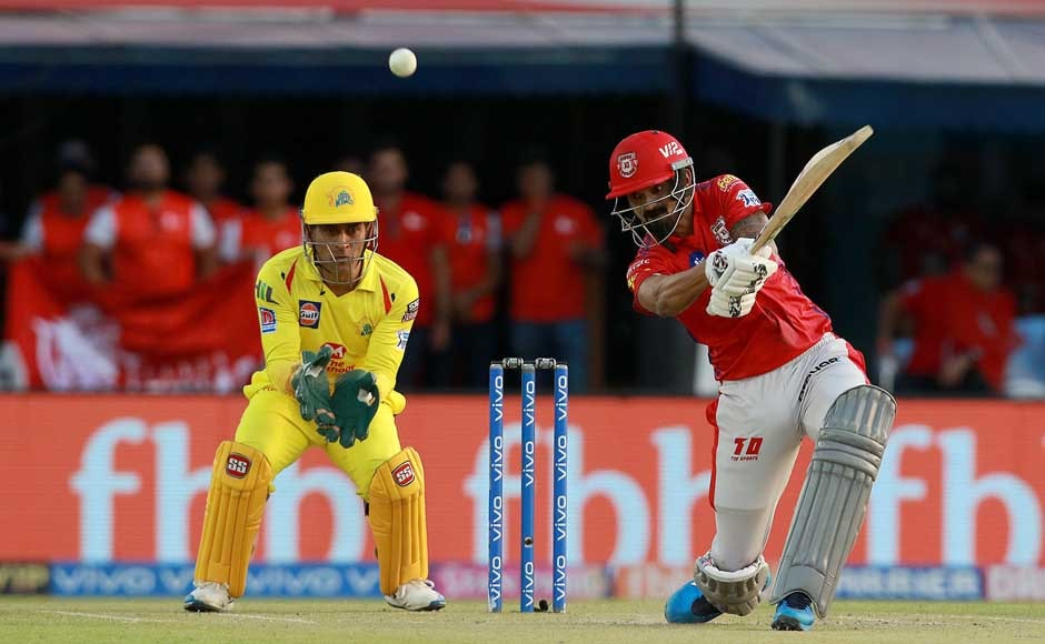 Kings XI Punjab's KL Rahul came out swinging, scoring an excellent knock of 71 from 36 balls before being caught out on a Harbhajan Singh ball. However, the damage was already done, and KXIP went on to win with two overs remaining. Image Courtesy: SportzPics