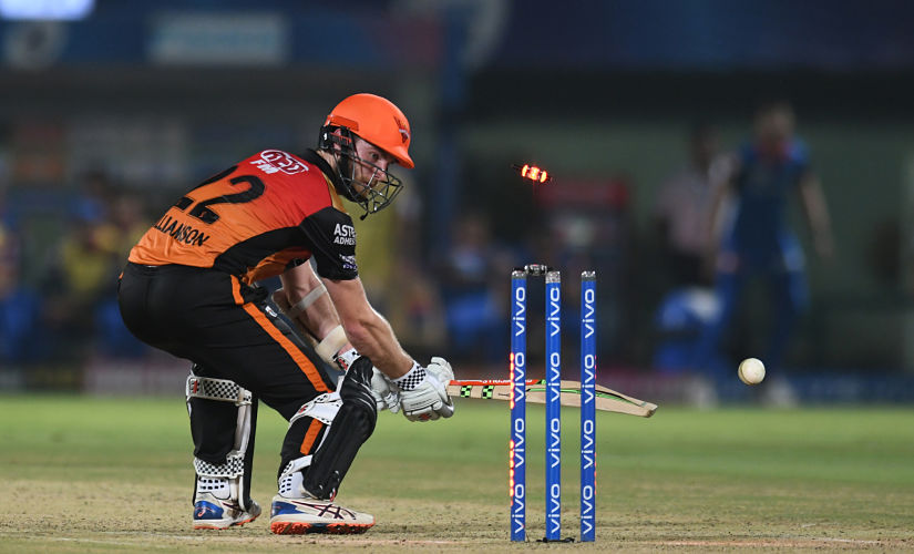 Sunrisers Hyderabad cricket captain Kane Williamson is bowled out during the 2019 Indian Premier League (IPL) eliminator Twenty20 cricket match between Sunrisers Hyderabad and Delhi Capitals at the Dr. Y.S. Rajasekhara Reddy ACA-VDCA Cricket Stadium in Visakhapatnam on May 8, 2019. (Photo by NOAH SEELAM / AFP) / ----IMAGE RESTRICTED TO EDITORIAL USE - STRICTLY NO COMMERCIAL USE-----