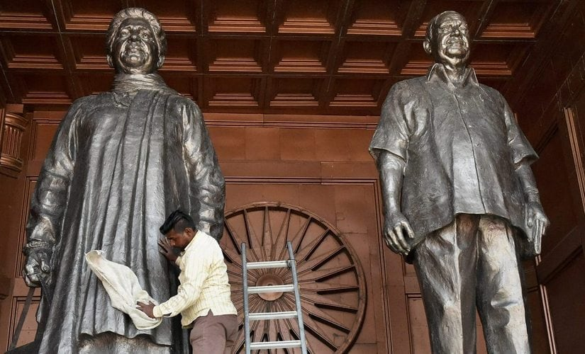Mayawati and Kanshi Ram's statues in Uttar Pradesh. Reuters