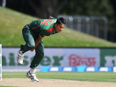 Bangladesh's Mohammad Saifuddin bowls during the second one-day international cricket match between New Zealand and Bangladesh at Hagley Oval in Christchurch on February 16, 2019. (Photo by Marty MELVILLE / AFP)