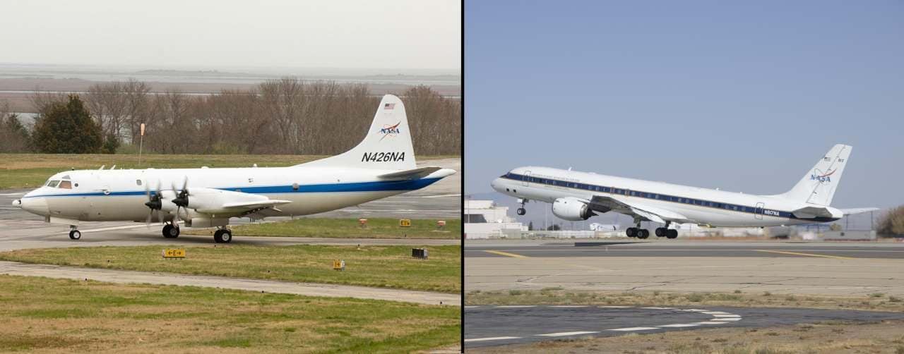 NASA's airborne science lab — the P-3B (left) and the DC-8 (right) — have been used extensively by the IceBridge mission. Image credit: NASA