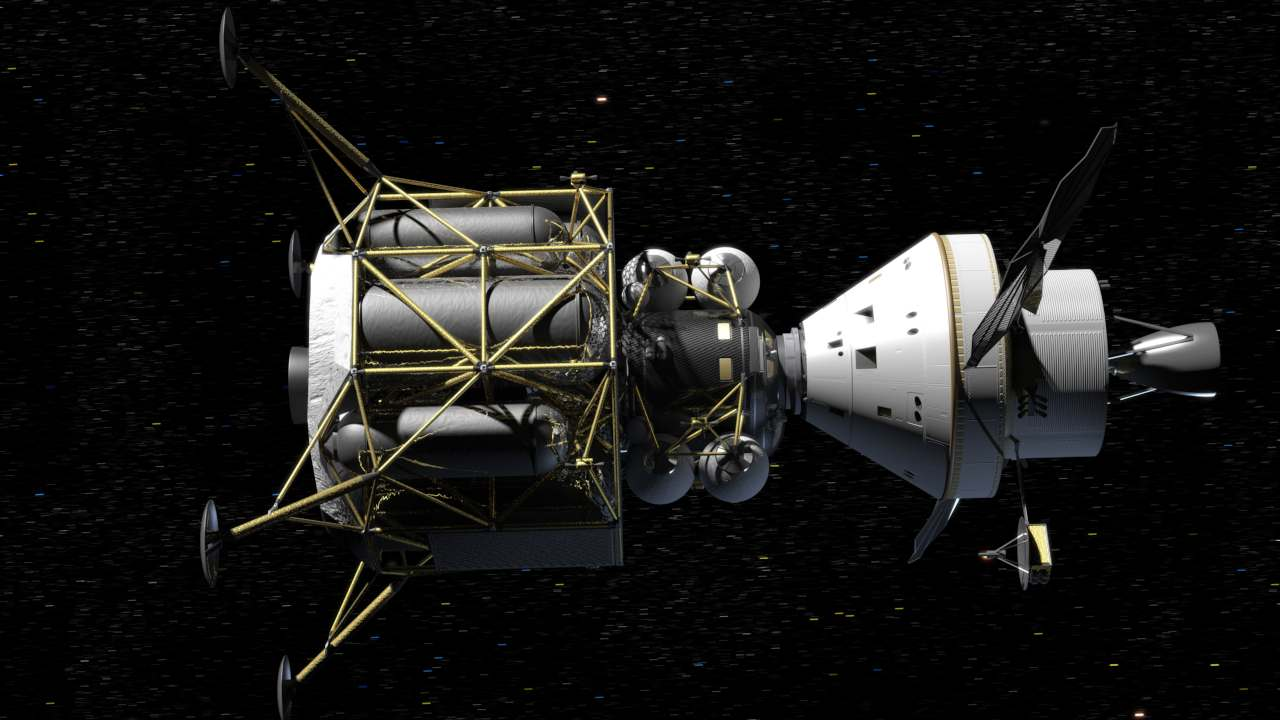 NASA's Orion crew vehicle flies in space while docked with a lunar lander in this NASA artist's rendering. Image credit: NASA