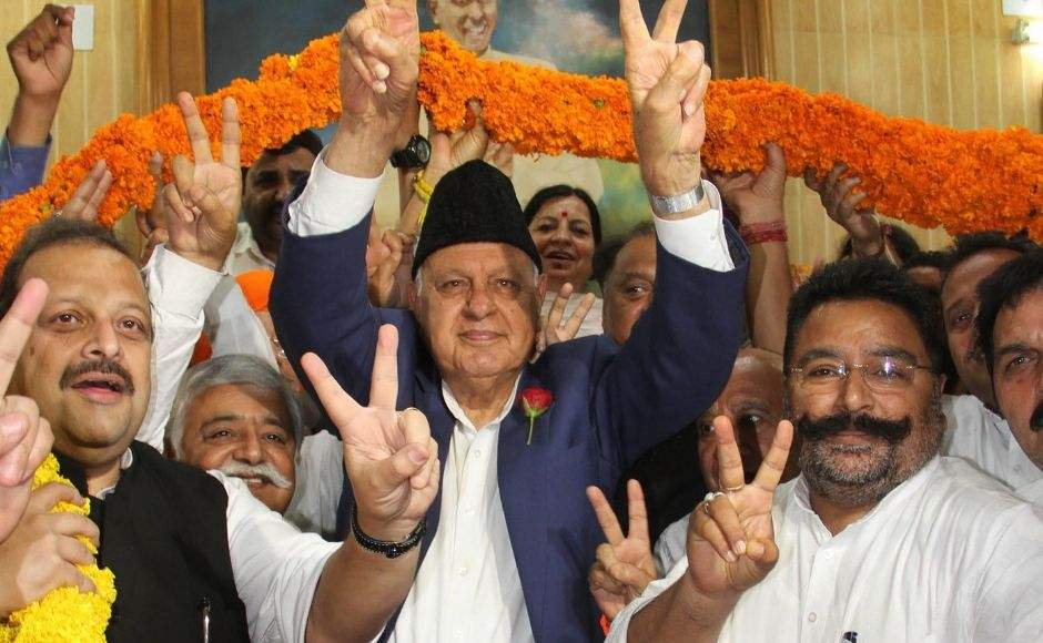 National Conference chief Farooq Abdullah was garlanded on arriving at the party office after winning the Srinagar seat for Lok Sabha elections, in Jammu. Reuters