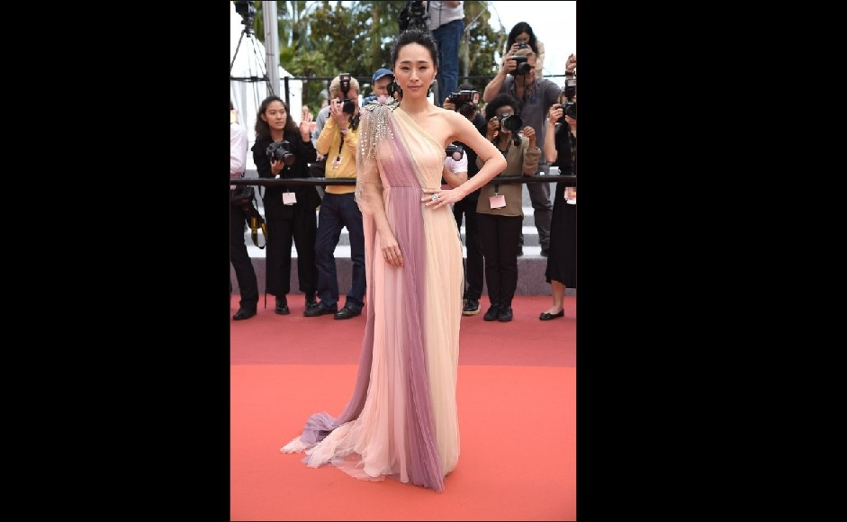 Wu Ke-Xi wore a Gucci multicolor panel tulle gown for the premiere of Nina Wu | Twitter